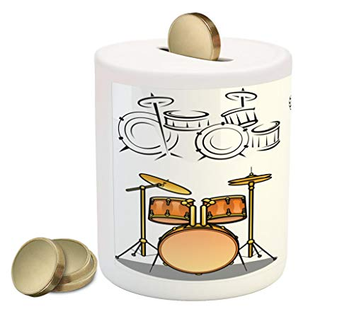 Lunarable Drums Coin Box Bank, Trap Set Ethnic Western Eastern Bongo Timpani Folk Artistic Rock Pop Modern Image, Printed Ceramic Coin Bank Money Box for Cash Saving, Multicolor