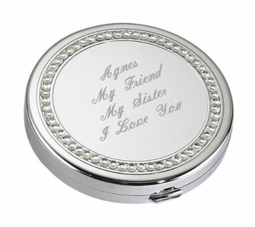 (Personalized Silver Crystal Compact Mirror Engraved Free)