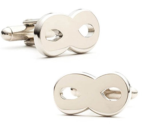 Men's Executive Silver Tone Without End Infinity Symbol Cufflinks Cuff Links