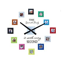 "Sentiment Photo Mute DIY Large Wall Clock 3D Sticker Home Office Decor Gift,Decal and Picture Frames Kit ""Time Spent with Family Is Worth Every Second"" by Simba"