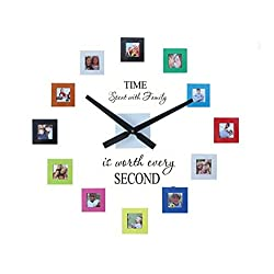 Sentiment Photo Mute DIY Large Wall Clock 3D Sticker Home Office Decor Gift,Decal and Picture Frames Kit Time Spent with Family Is Worth Every Second by Simba