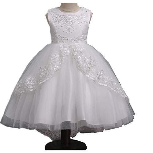 Brilliant sun Baby Girls Dress Princess Christening Baptism Party Birthday Formal Dress(White-120cm(4-5 Years))