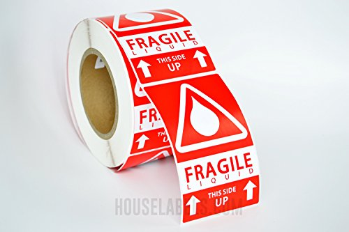 4 Rolls ; 500 Labels per Roll, 3 x 5 Fragile LIQUID This Side up Pre-Printed Labels/Stickers (3