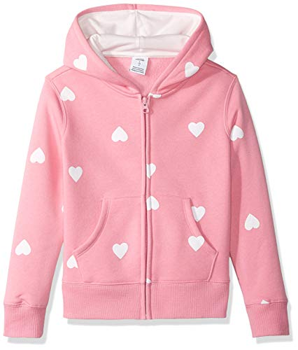 Amazon Essentials   Girls' Fleece Zip-up Hoodie, Pink Heart M (8)