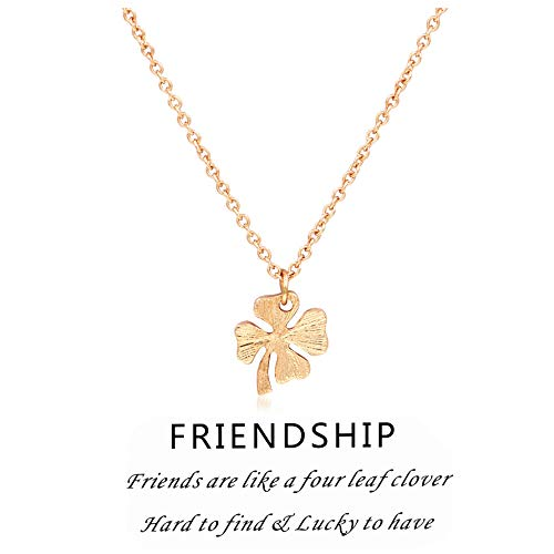 (Hanloud Lucky Clover 4 Leaf Pendant Necklace Gold Charming Clover Necklace Message Friendship Jewelry for Women)