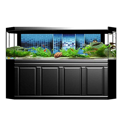 Jiahong Pan Aquarium Decorative with Fragments Ceramic Style Square Art Sky Blue Aquarium Background Sticker Wallpaper L29.5 x H11.8