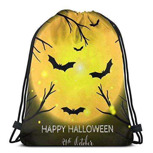 Halloween With Happy Text Customized Drawstring Backpack Bag Sport Gym Sackpack For Men And Women Outdoor Travel