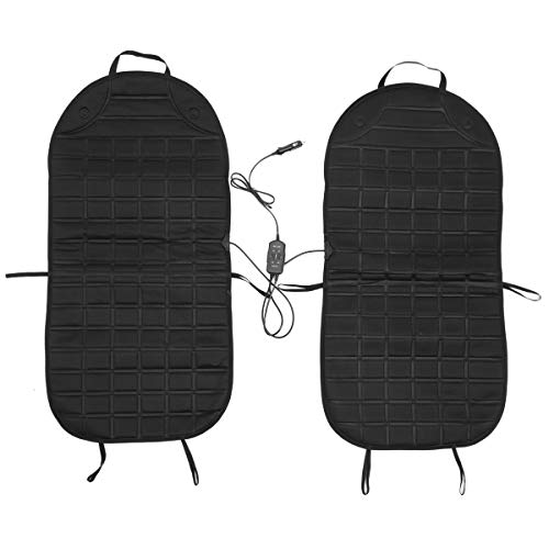 Audew Car Heated Seat Cushion (2019 Upgraded Version) - 12V Winter Seat Heater Pad - One Pair Cover Seat Warmer Black (2 Pack)