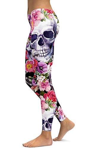 sissycos Sugar Skull Printing Stretchy Leggings Skinny Pants for Yoga & Running (Medium, Flower) -