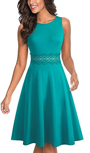 HOMEYEE Women's Sleeveless Cocktail A-Line Embroidery Party Summer Wedding Guest Dress A079(10,Turquoise)]()