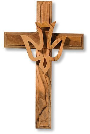 Olive Wood Cross with Holy Spirit, Dove (WH-051)