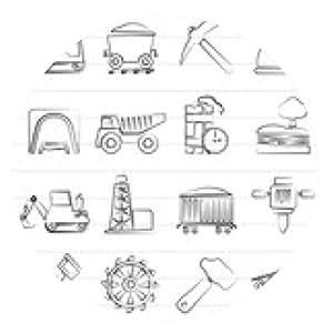 alfombrilla de ratón La industria extractiva iconos - vector icono conjunto - ronda - 20cm