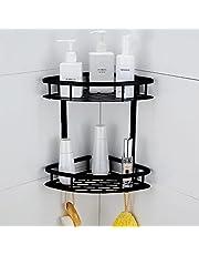 Hoomtaook Półka prysznicowa narożna półka łazienkowa bez wiercenia, przestrzeń aluminiowy organizer pod prysznic Caddy bez wiercenia samoprzylepne akcesoria łazienkowe montowane na ścianie, 2-poziomowa czarna