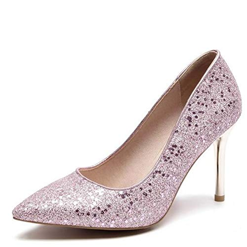 Spring Pink ZHZNVX Heels Microfiber Gold Silver Basic Pump Shoes Silver Stiletto Women's Heel tBwqa1wg