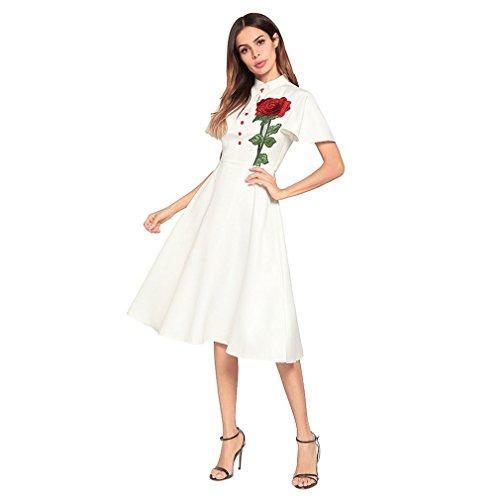 Kleid der Frau Damen Kleider Reine Farbe Kurzarm Zurück Reißverschluss  Kleine Stehkragen Vintage A-Linie ... fc40879a69