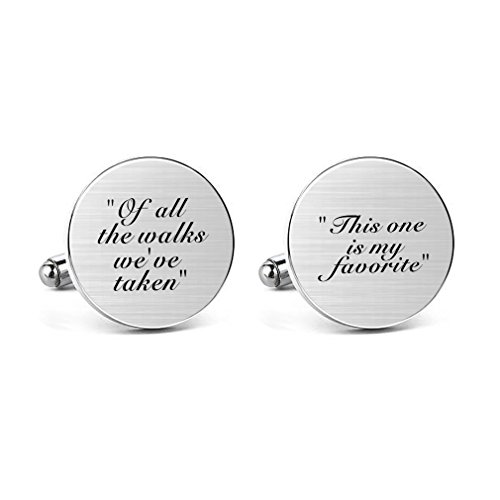(MUEEU Father Wedding Cufflinks Engraved of All The Walks We Have Take Round Cuff Link Tie Clip)