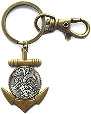 Aries Anchor Keychain, Aries Zodiac Sign Anchor Keychain, Zodiac Anchor Keychain, Zodiac Jewelry, Aries Birthd