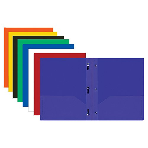 BAZIC Solid Color 2-Pockets Poly Portfolio w/ 3 Prongs (Case of 48)