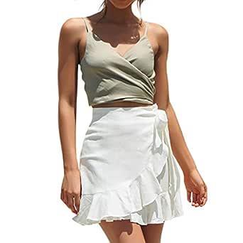 Covermason Falda Mujer Mini Elástica Color Sólido Ruffles Vendaje ...