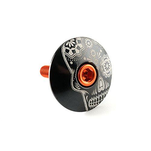 "Kustomcaps Sugar Skull 1 1/8"" Headset Cap Black w/ Orange Bolt"