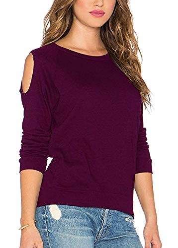 Fihapyli Women's Workout Shirt Cold Shoulder Tops Yoga Tank Tops Plain Off Shoulders Long Sleeve Shirt Workout Clothes for Women Activewear Tops for Women Athletic Tshirts Sports T-Shirt Purple XL