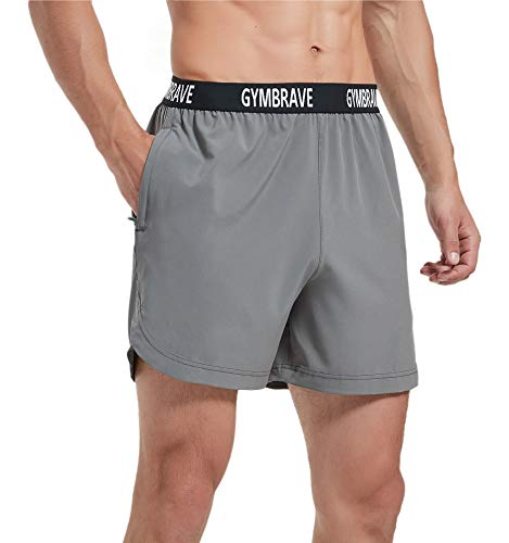 GymBrave Men's 5 Inches Athletic Running Shorts Lightweight Quick Dry Workout Training Short with Zip Pockets