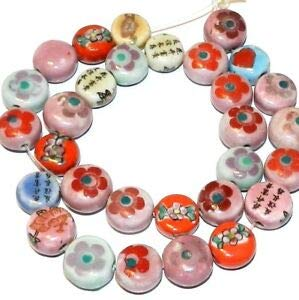 Steven_store CPC145 Assorted Porcelain & Ceramic 13mm - 14mm Puffed Flat Round Coin Beads 16