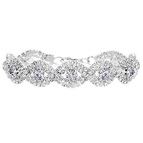 Rhinestone Tennis Bracelet Silvertone Wedding Bridal Bracelet Crystal Bracelet White