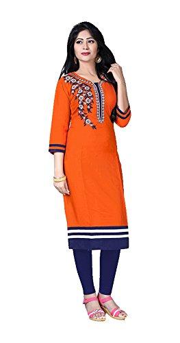 Jayayamala T-shirt à manches courtes en coton à coton orange et coton à manches longues