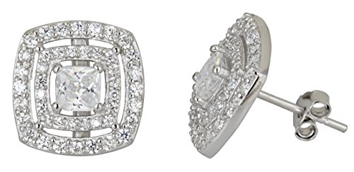 Sterling Silver mm Square Double Halo Pave Stud Earrings