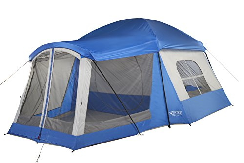 Wenzel 8 Person Klondike Tent, Blue (Spacious Front Pocket)