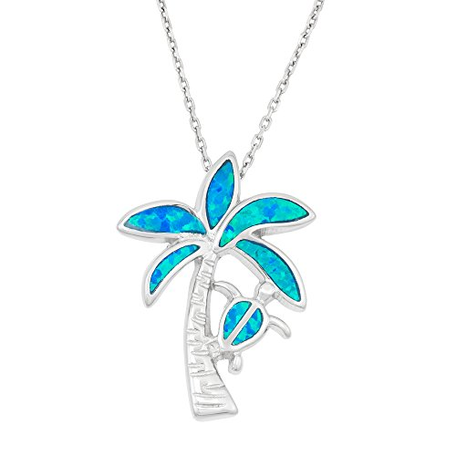 Sterling Silver Created Blue Opal Palm Tree & Turtle Pendant with 18