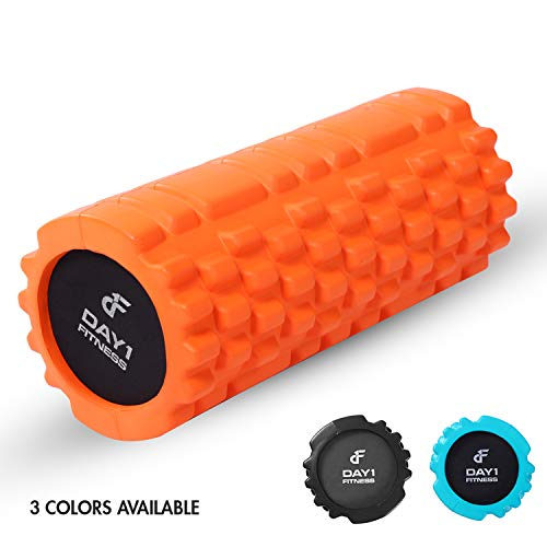 Massage Roller 13 INCHES by Day 1 Fitness - Available in 3 Colors - Great for Muscle & Recovery, Floor Exercises, Stretching, Physical Therapy, Rehabilitation, and Core Strength