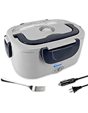 Electric Lunch Box Benooa Heated Lunch Box for Car and Home,12V/110V Portable Food Warmer 2 in 1 Food-Grade Stainless Steel Heating Container with Fork and Spoon for Men/Women,1.5L