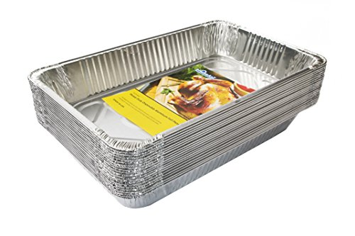 eHomeA2Z (20 Pack) Heavy Duty Full-Size Deep Disposable Aluminum Foil Steam Table Pans for Cooking, Roasting, Broiling, Baking - 21 x 13 x 3 (20, Full-Size) (Steam Table Pan Rack)