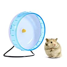 Hamster Wheel 8.3'' Pet Exercise Running Wheel Silent Spinner for Gerbils Hamsters Mice Chinchilla and other Small Animals with Stand and Removable Shaft (Blue)