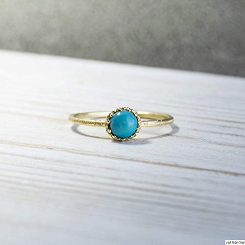 14K Gold Minimalist Turquoise Ring - 14K Solid Yellow Gold Dainty Ring, December Birthstone, 5mm Round Gemstone, Unique Handmade Gift, Thin Midi Promise Ring, Simple Minimal Jewelry for Women