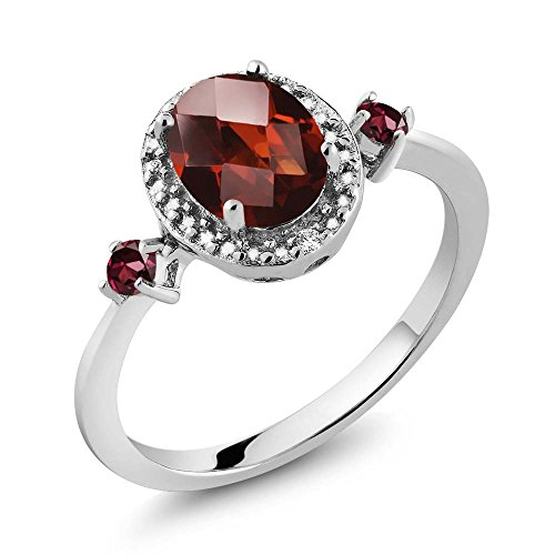 Gem Stone King 1.59 Ct Oval Checkerboard Red Garnet Red Rhodolite Garnet 925 Sterling Silver Ring With Accent Diamond