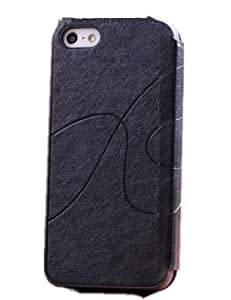 New Luxuary Crazy Horse Line Pu Leather Case Cover for Iphone5/5s (Black)