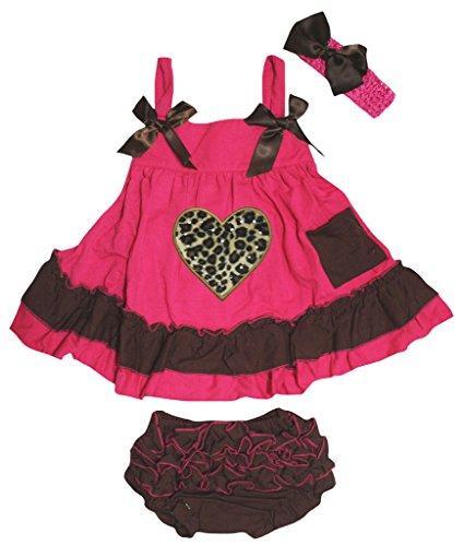 - Petitebella Leopard Heart Hot Pink Brown Swing Top Bloomer Nb-24m (0-12 Months)