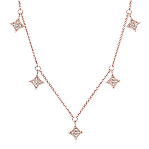 Dangling Pendant Charm (Choker Necklace with Diamond Shaped Pendants 925 Sterling Silver)