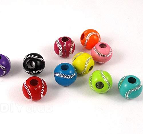 Calvas 150pcs-Round Acrylic Baseball Beads, Softball Beads 12mm -