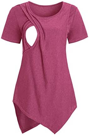 RIUDA Women Maternity Short Sleeve Irregular Nursing Baby Breastfeeding T-Shirt Tops