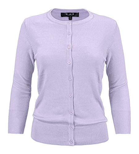 Ann Taylor Cardigan - YEMAK Women's 3/4 Sleeve Crewneck Button Down Knit Cardigan Sweater CO079-LIL-S Lilac