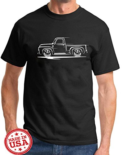 1953-56 Ford F100 F-100 Pickup Truck Redline Classic Outline Design TshirtXL black