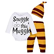 BANGELY Baby Boy Girl Letters Print Short Sleeve Tops Romper Stripe Pants with Hat Set size 0-6Months/70cm (Red1)