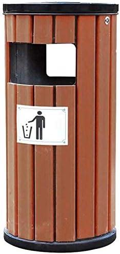 POIUY 屋外のゴミ箱工業用シングルチューブウッドごみ箱ビン風景区ストレージ酷いビンのゴミ廃棄物の灰皿廃棄物リサイクル紙ストレージコンポストビン (Color : Brown, Size : 16.55*36.25inchs)