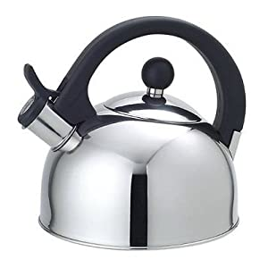 Functional Modern Design Stainless Steel Construction Whistling Tea Kettle, 2.5 Liter Easy Open Lid and Heat Resistant Handle
