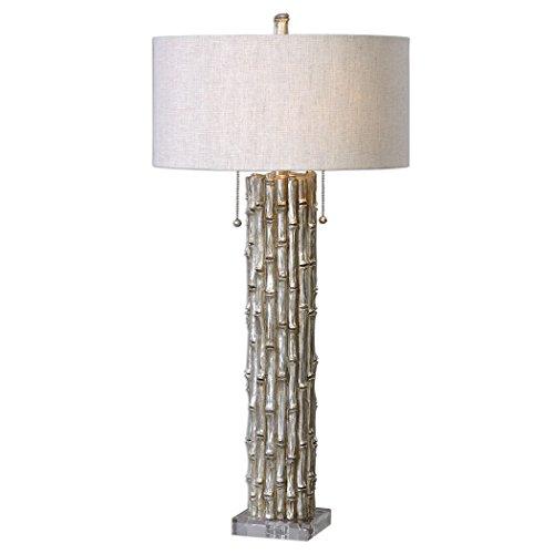 (Luxe Asian Bamboo Column Table Lamp | Contemporary Silver Oriental Modern)
