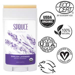 SPRUCE NATURALS: All Natural Deodorant for Women & USDA Organic Deodorant for Men With Coconut Oil, Shea Butter & Organic Essential Oils, Long Lasting Deodorant for Kids, Lavender Deodorant